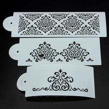 3Pc/Set Flower Damask Fondant Cake Stencil Mould Border Lace Decor Icing Sugarcraft Tools
