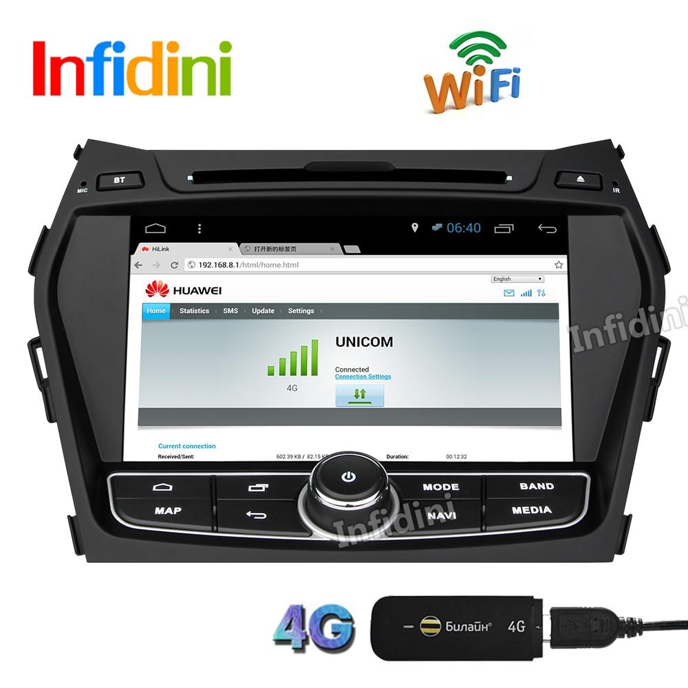 Quad core for hyundai ix45 santa fe 2013 pure android 6 0 car dvd gps video radio
