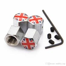 1set Anti-Theft Dust Cap Tyre Tire Caps Cover For England British UK union Jack Flag Tire Valve Caps