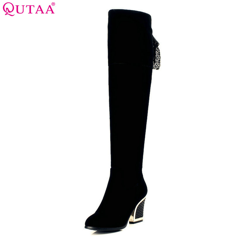 QUTAA Zipper Classic Black Suede Square High Heel Round Toe Lace Up Knee High Boots Women Motorcycle Boot Size 34-40<br>