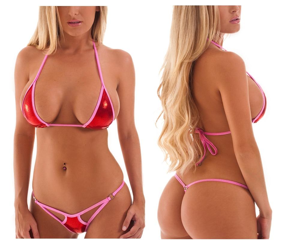 Solid Exotic Sunbath Mini Bikini Teardrop G-String Micro Bikinis Set 2Pcs Thong & Top Beach Swimwear Female Sex String Swimsuit 43