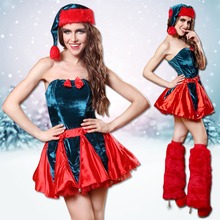 Cutie Sexy Adult Plus Size Christmas Red Green Fur Costume Set for Women Dressing Up Fantasia Christmas Cosplay With Leggings(China)