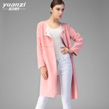New 2017 Autumn Winter Windbreaker Women Pink O-neck Straight Covered Buttons Medium Length Casual Trench Coat Especially Female(China)