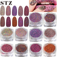 STZ 1g Mixed Deep Colors Sugar Glitter Powder Sequin Dust Nail Art Decorations 16 Design Acrylic UV Gel Polish Pigment #527-542