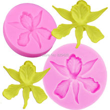 Milkmico F1057 Silicone Mold 3D Orchid flower Shape Embossing Fondant Cake Decorating Tools Moulds Sugar Art Tools,6*6*1.1CM