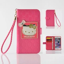 Fashion Women Girl Lanyard Hello Kitty Flip Wallet Stand Leather Case For Apple iPhone 6 6S 4.7 inch With 6 Card Holders Cover