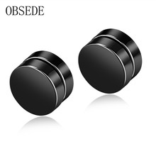 OBSEDE Punk Mens Earring Stainless Steel Circle Magnetic Clip Stud Earrings Magnet Fake Plugs No Piercing Clip On Unisex Jewelry(China)