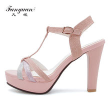 Fanyuan Thick high Heels Sandals women T-Strap Sandals Summer Open toes  Ankle strap shoes Bling Wedding bridal Platform Sandals 320b213e9dc7