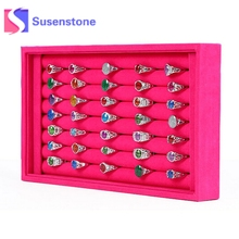 50 Slots Velvet Jewelry Ring Earrings Cufflinks Display Box Storage Case Holder Organizer Box Tray Box Jewelry Tools Equipments(China)
