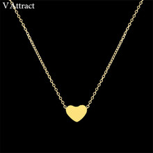 V Attract Women Jewelry Stainless Steel Chain Necklace Gold Color Dainty Tiny Heart Shaped Necklaces Pendants(China)