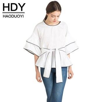 Hdy haoduoyi 2017 del verano nuevas mujeres blusa de cuello redondo de media manga de la camisa blanca de la blusa de la camisa ocasional blusas