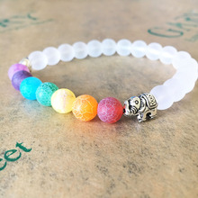 7 Chakra Healing Balance Elephant Bracelet White Sandstone Beaded Bracelet & Bangle For Women Men Lava Yoga Reiki Prayer Bijoux(China)