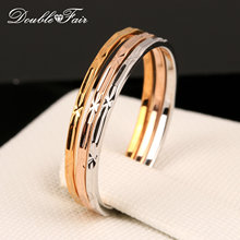 Vintage 3 Color Rounds Elegant Finger Rings Rose Gold Color Fashion Brand Punk Jewellery/Jewelry For Women Wholesale DFR029(China)