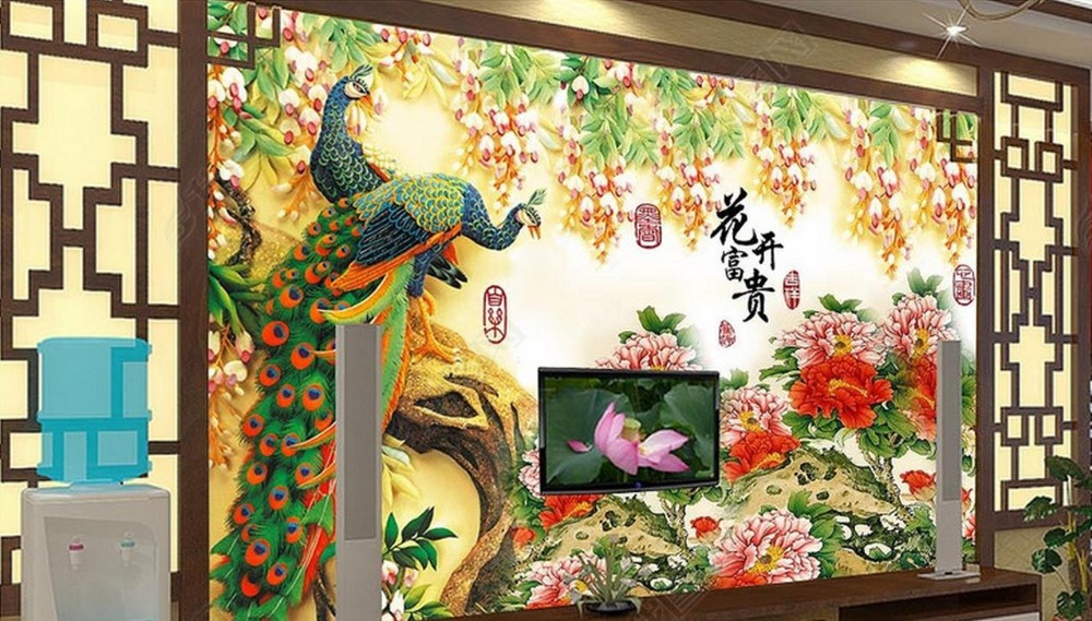 Custom luxury wall paper Peacock TV 3d wall paper for living room wallpaper non-woven photo wall murals<br>