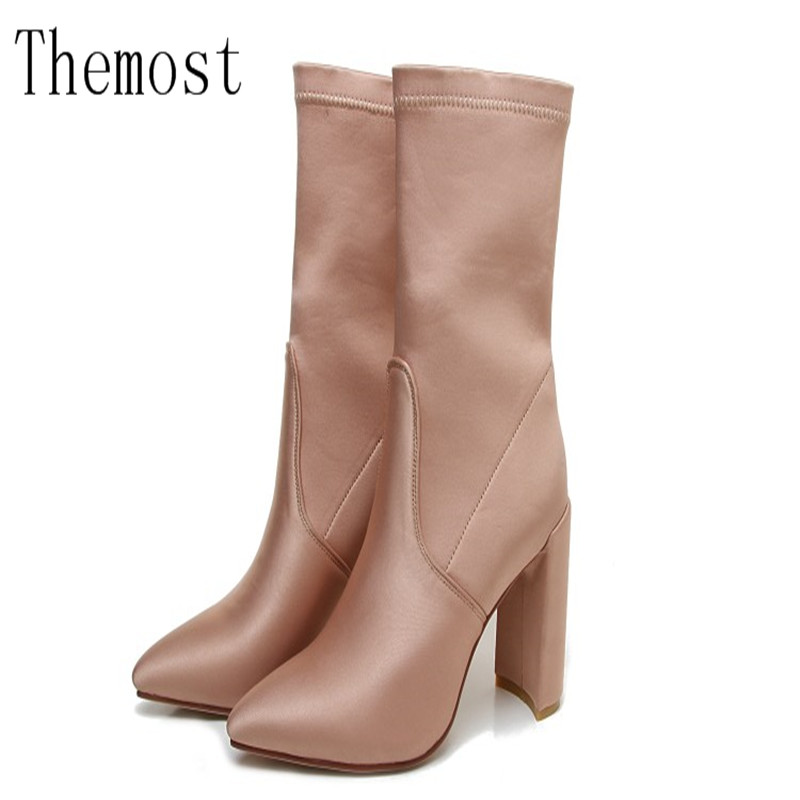 2017 latest luxury short silk and satin elastic fashion short boots ladies shoes womens shoes<br>