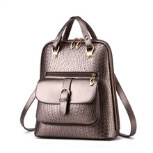 Luxury Minimalist WomenPU Leather Backpack Fashion Simple Crocodile Grain Lady Daypack Black Travel Shoulder Bag
