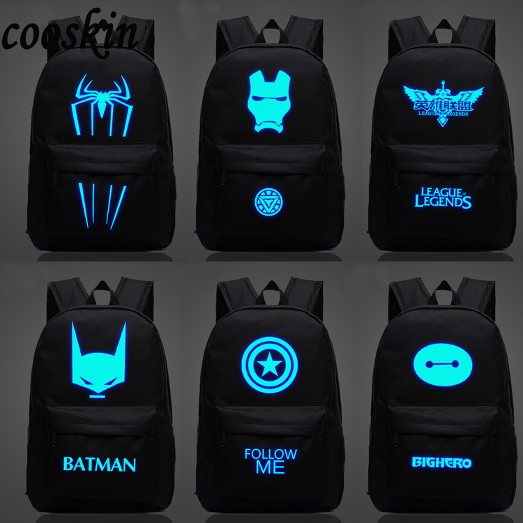 Iron Man backpack luminous small monster Backpack Bag Superman low-key white boy and girl<br><br>Aliexpress