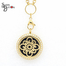 10Pcs Crystal Gold Flower Purfume Locket Pendants Stainless Steel Magnetic Aromatherapy/Essential Oils Diffuser Lockets Pendant