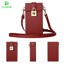 FLOVEME Universal Wallet Case For iPhone X 6 6s 7 8 Plus Cross Body Wallet Leather Bag Case For Samgsung S6 S7 S8 Cute Bag Cover(China)