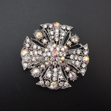 Fashion Burnished Shiny Women AB Color Rhinestone Plant Flower Style Cheap Brooch Pins Lot, 6PCS/PACK, Item NO.: BRH503(China)