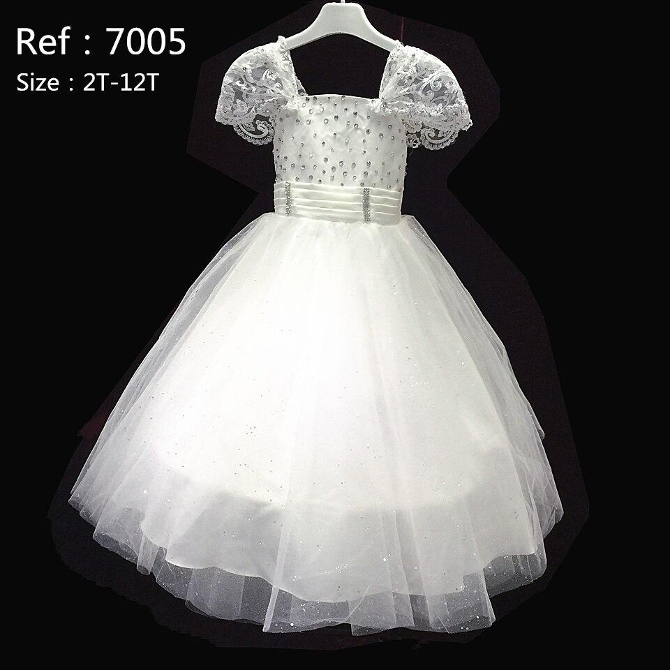 HG Princess 2017 New Ivory Girl Flower Dresses For Weddings Short Sleeves White Girl Dress Plus Size 2T-12T Kids Ball Gowns 7005<br><br>Aliexpress