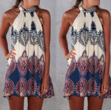 Sexy Women Summer Boho Maxi Party Dress Beach Dress Sundress Mini Dress