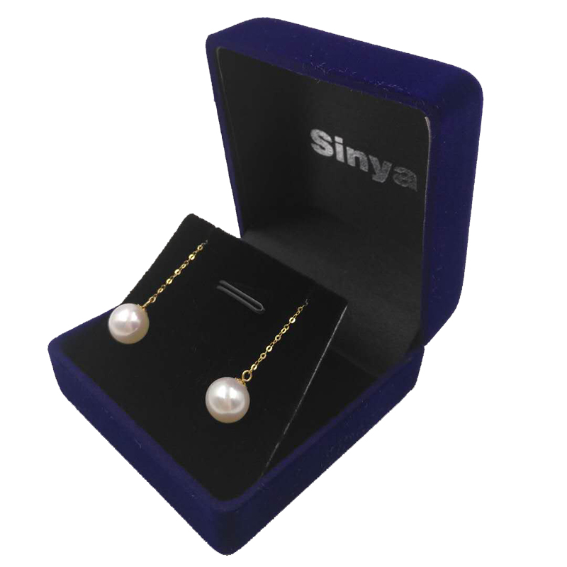 Sinya Au750 18k gold dangle drop earring with 7-9 mm Natural Round high luster pearls long chain tassel design earring for women (12)