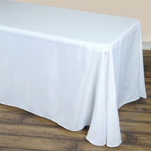 90'' x 120'' Universal Size White Linen Cotton Fabric Rectangular Polyester Modern Tablecloths Square Table for Wedding Party