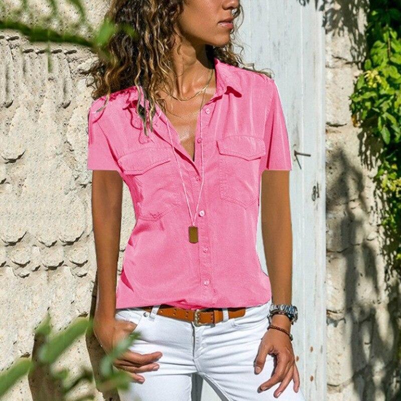 Office Summer Blouse Women Plus Size Elegant Blusas Mujer 2019 Womens Tops and Blouses Shirt Top Femme Women Blouse Short Sleeve8