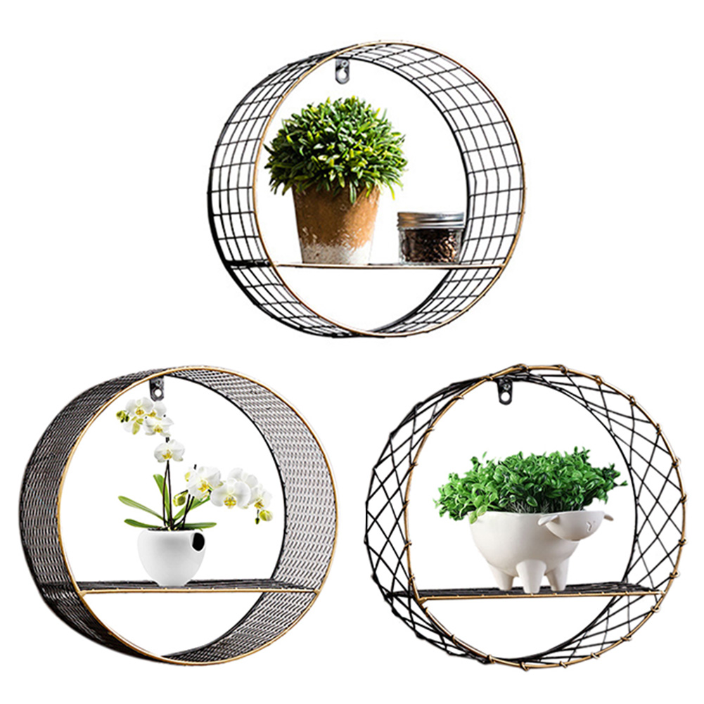 3 Sizes Retro Wall-Mounted Metal Rack Circular Mesh Iron Shelf Industrial Style Round Shelf Office Sundries Organizer Home Decor 13