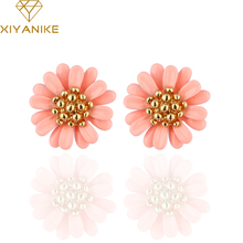 High Quality New Brand Bohemia Vintage Daisy Flower Summer Jewelry Stud Earring For Women Pendientes mujer E681