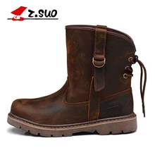 Z. Suo Genuine Leather Men Boots Boots Xe Máy Cổ Điển Men Brown Chất Lượng Cao 36-44(China)