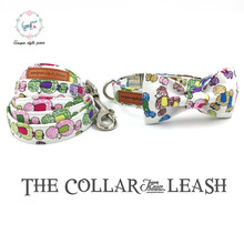 Fshion colorful dog collar and leash set with bow tie  matel buckle   dog &cat necklace and dog leash  pet accessaries