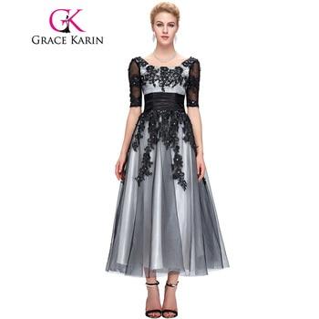 Grace Karin Longue Dentelle Robes De Soirée 2017 Élégante Moitié Manches Noir Blanc Champagne Formelle Robe De Robes De Soirée Plus La Taille