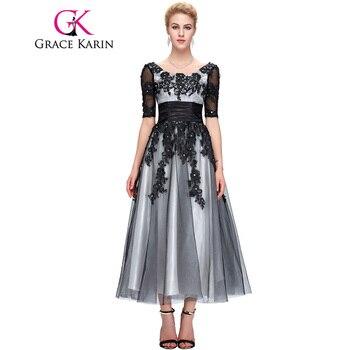 Grace karin cordón largo vestidos de noche 2017 elegante media manga negro blanco champagne formal vestido de bola vestidos de noche más tamaño