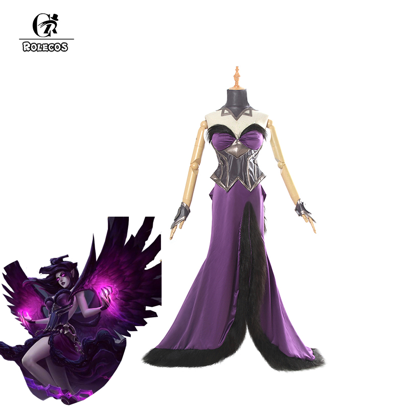 ROLECOS Game LOL Cosplay Costumes New Model Morgana Dark Purple Dress with full of accessories for Women Cosplay Costume LOL