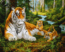 Frameless Pictures Tiger Painting By Numbers Wall Art Acrylic DIY Oil Canvas Paintings Home Decor For Living Room 40*50CM GX8479(China)