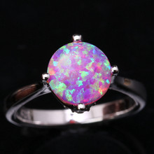 Unusual Eggform Pink Fire Opal White Fashion Wholesale 925 Sterling Silver Stamped Jewelry Wedding Rings Us# Size 6 7 8 9 SF1271