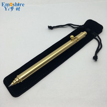 Unique Design Writing Ballpoint Pen Pure Brass Hand-made Gun Style Retractable Ball Pens Gifts Office Accessory P303(China)