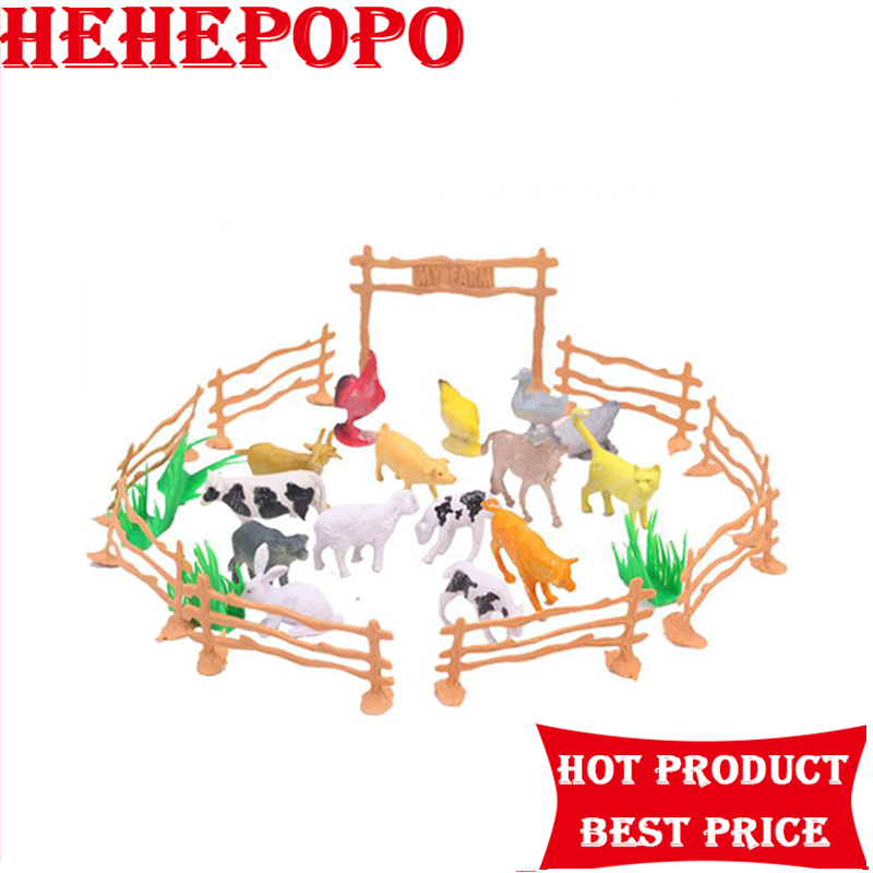 15 Animals 2 inch Poultry Family Farm To Send Fence Simulation Model Animal Toys(China)