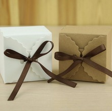 100PC/Lot Solid Brown and White Wave Edge Shaped Shabby Kraft Paper Card Wedding Party Gift Box Favour Candy Box with Rope