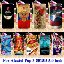 Panda Tiger Cat Painted Phone Cases Covers For Alcatel OneTouch Pop 3 5015D 5.0 inch 3G Version Cover 5015 5016A Housing Shell