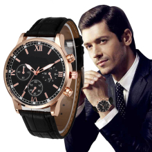 mens watches top brand luxury Retro Design Leather Band Analog Alloy Quartz Wrist Watch Fashion watch men