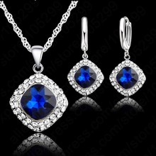 JEXXI Hot Sale 6 Colors 925 Sterling Silver Jewelry Set Short Chain Charm Pendant Necklace Earring Crystal Set for Women