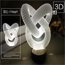 New visual effect 3D Personality LED Nightlight gift  3D wooden base desk lamp Double heart screw balloon table lamp for home