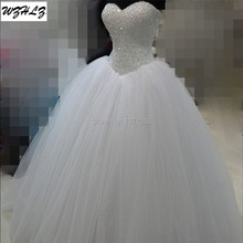 Luxury White Heavy Beaded Princess Wedding Dress 2017 Real Photos Tulle Ball Gown Bridal Dress vestidos de noiva WD150(China)