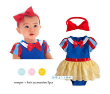 Fashion baby princess snow white costume halloween tutu romper with headband