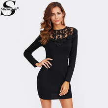 Sheinside Floral Lace Club Dress Black Cut Out Party Dress 2017 Long Sleeve Sexy Winter Bodycon Sexy Mini Dress(China)