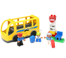1271  set large blocks of bus coaches bus stop assembling  play Compatible With legoe