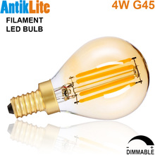 European Candelabra Edison Screw Base E14 4 Watt/4W Dimmable G45 Amber Glass Retro LED Filament Small Globe Light Bulb G14 E12